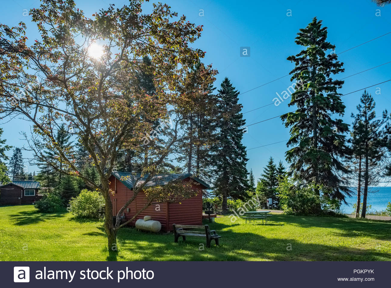 Cabin with sweeping views of Lake Superior, near Grand Marais, Minnesota, USA. Stock Photo