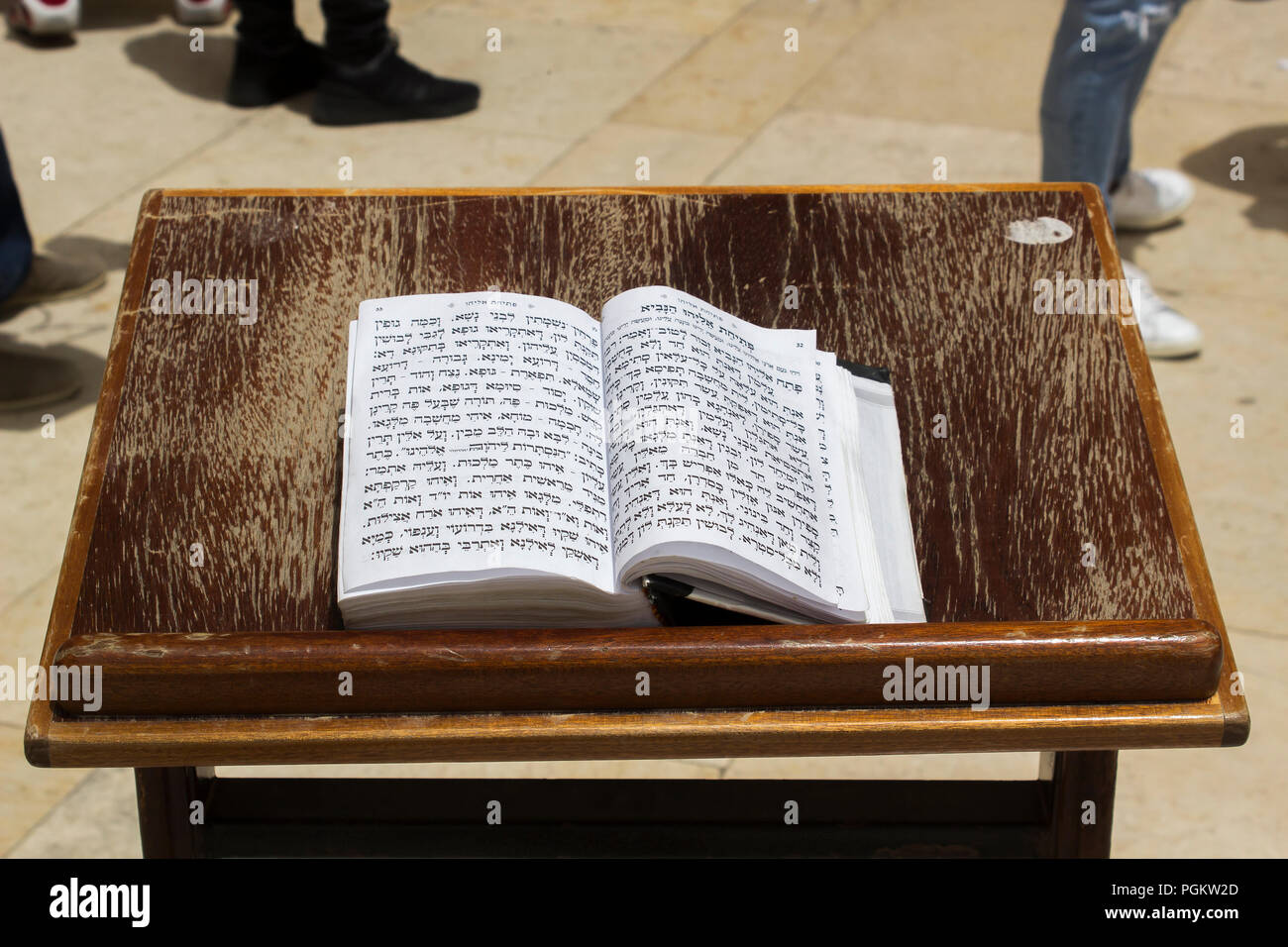 10 May 2018 An open Torah, the boook of the law,  on a lectern at the Western Wall in Jerusalem Israel - Stock Image