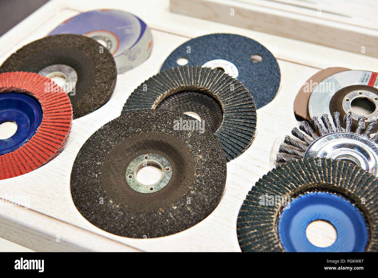 Abrasive disc for angle grinder in store - Stock Image