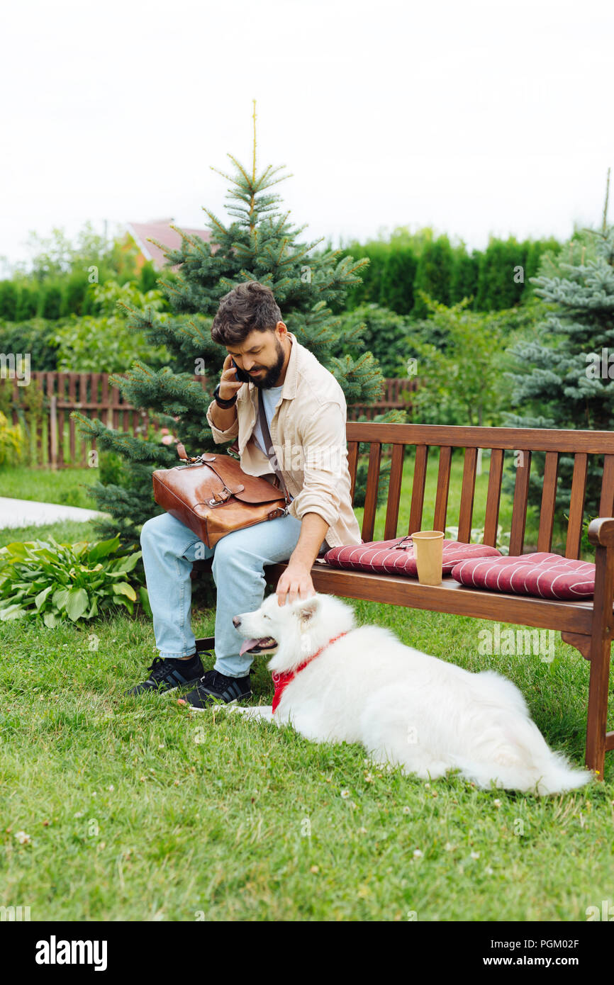Dark-haired man playing with his white dog sitting on bench - Stock Image