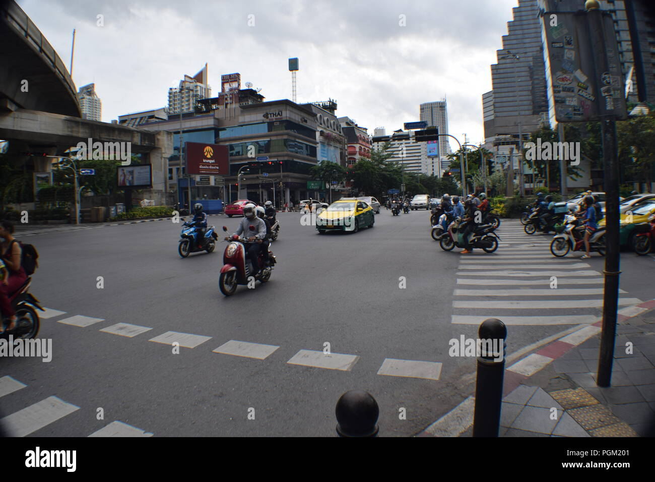 Intersection Silom Road - Stock Image