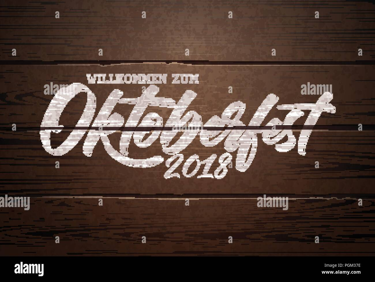Oktoberfest Illustration with handwritten lettering on vintage wood background. Oktoberfest typography vector design for greeting card, banner, flyer, invitation or promotional poster. Celebration template for traditional German beer festival. - Stock Image