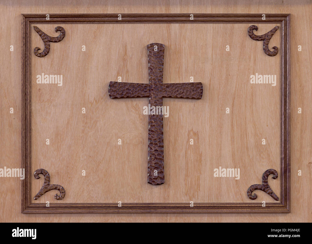 Wooden cross framed on wood inside the St. Peter's Roman Catholic Church on Cabot Trail in Ingonish Beach, Nova Scotia - Stock Image