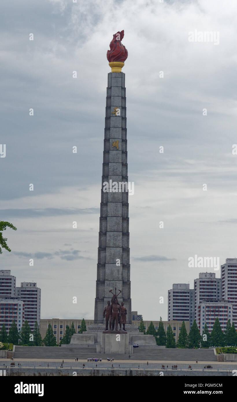 The Juche Tower, Pyongyang, early morning light, North Korea - Stock Image