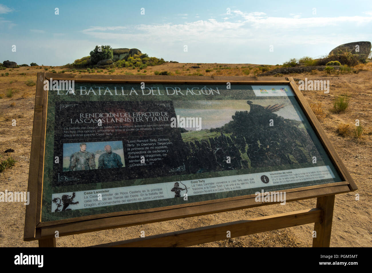 Natural monument of Los Barruecos , place of series Game of Thrones where 'Dragon battle' was recorded, season 7. Sign with information about filming. - Stock Image