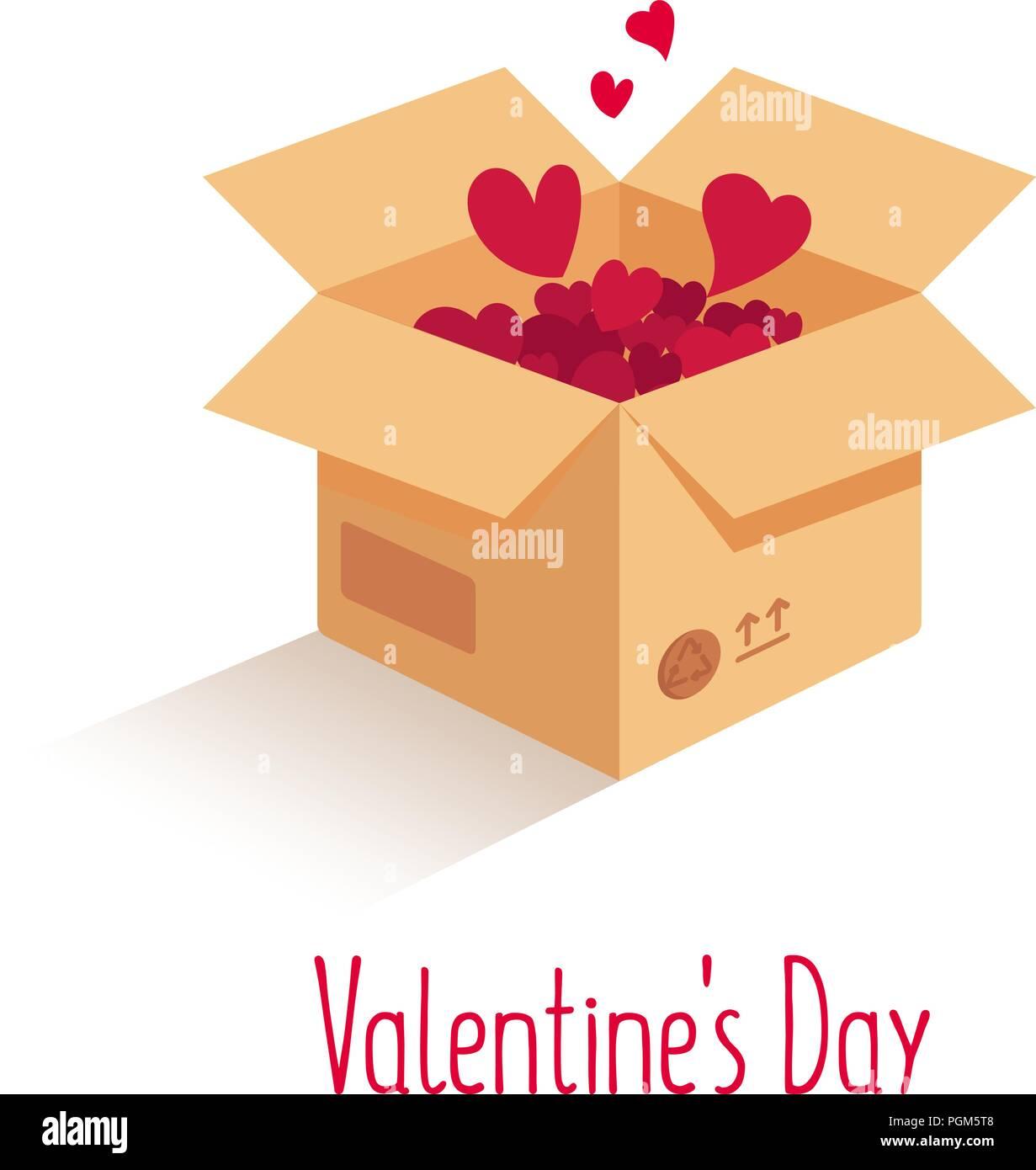 Box with love. Vector love box. Surprise box. Isometric box - Stock Image