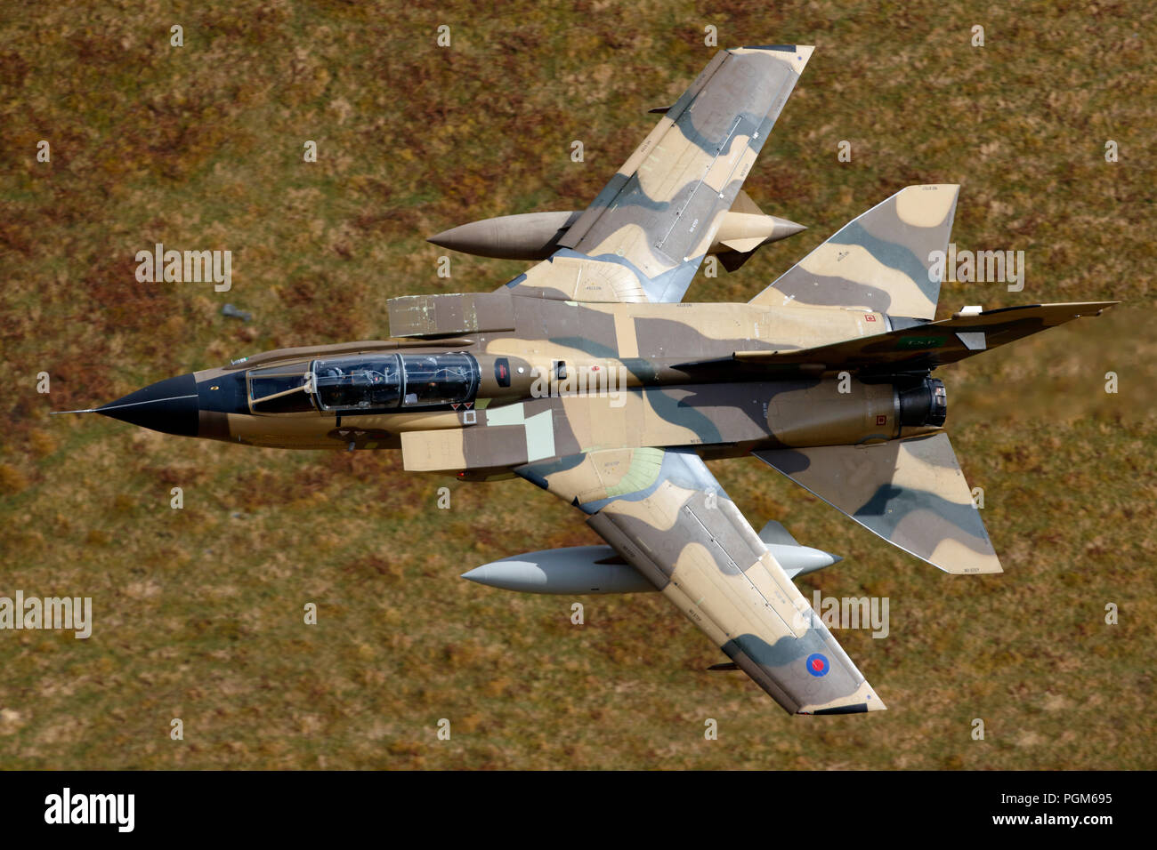Panavia Tornado IDS ZH917 Royal Saudi Air Force, BAe Warton test pilots fly through the Mach Loop LFA7 Wales - Stock Image