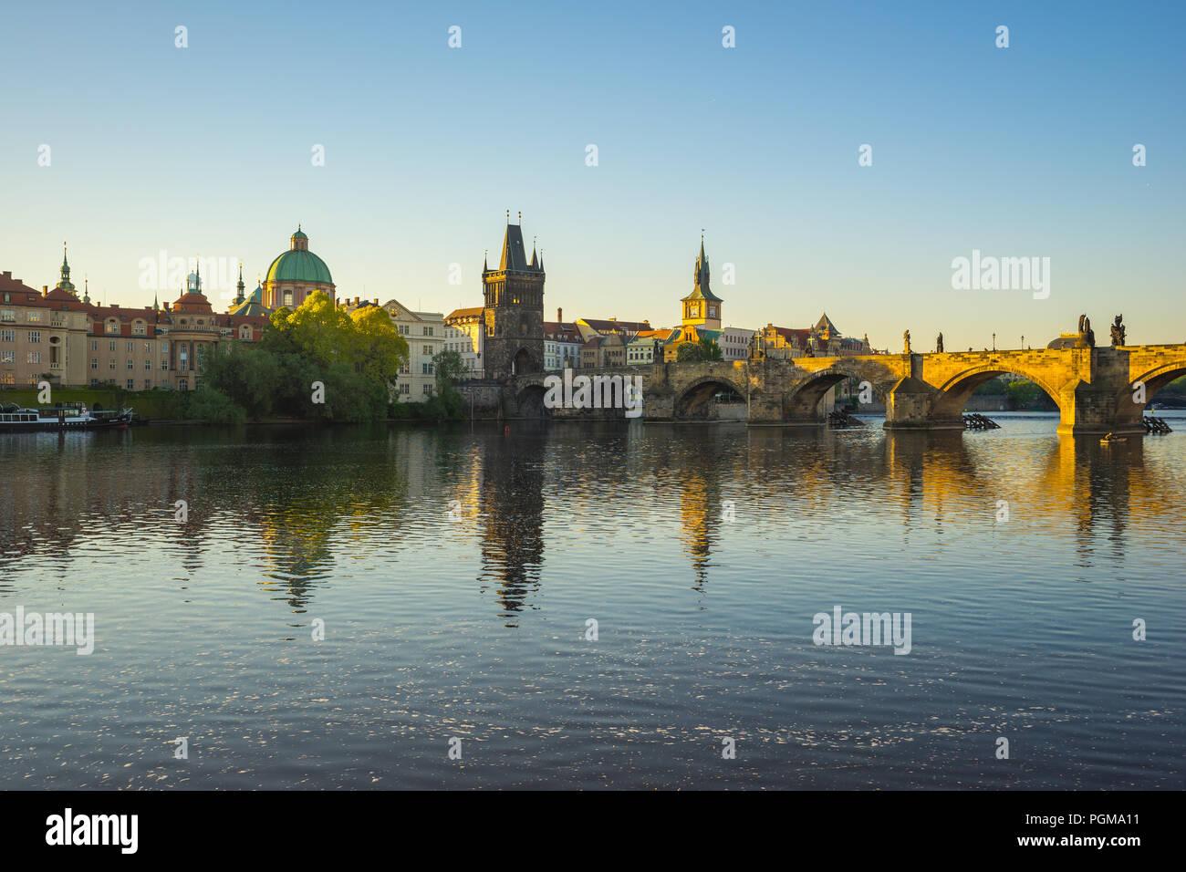 Vltava River with Prague skyline in Czech Republic. - Stock Image