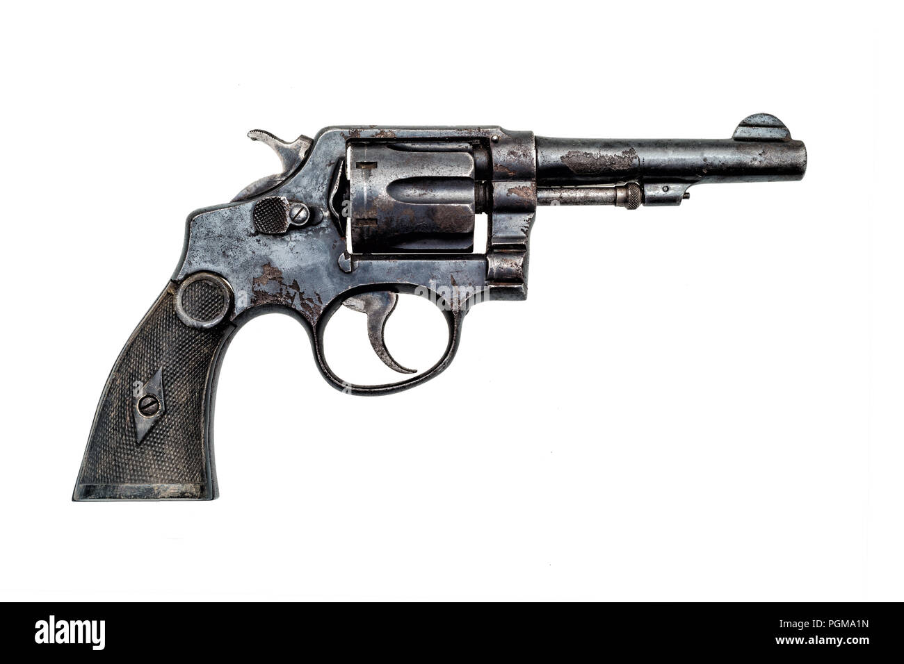 old military police rusty revolver handgun on white background - Stock Image