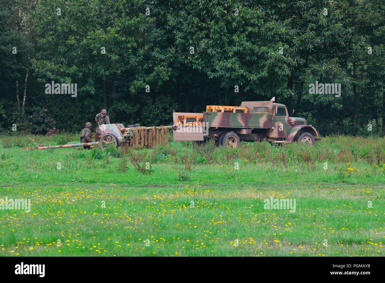A world war two German tank manouevers in a display area ar Detling during the militaria show 2018 - Stock Image