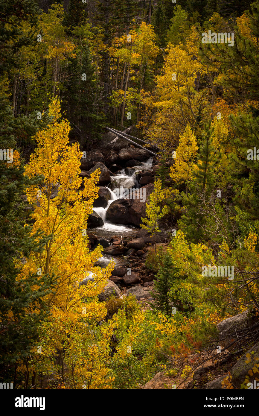 Waterfall With Aspen Trees In Fall Colors In The Rocky Mountain National Park Colorado Usa Stock Photo Alamy