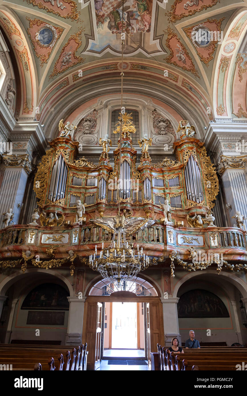 Baroque pipe organ in Saint Anne Church in Warsaw, Poland - Stock Image