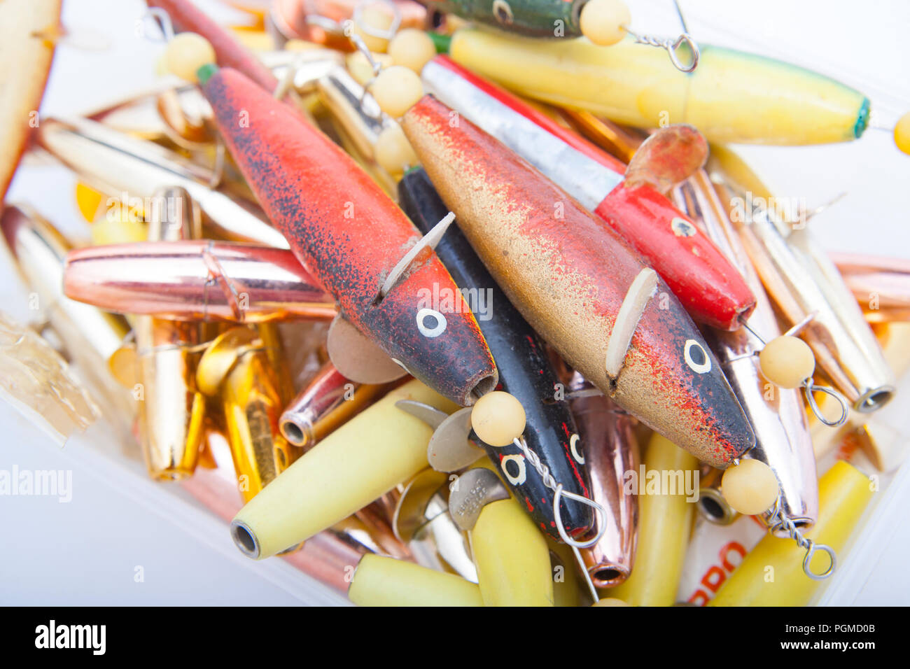 A collection of painted and unpainted Devon minnow fishing