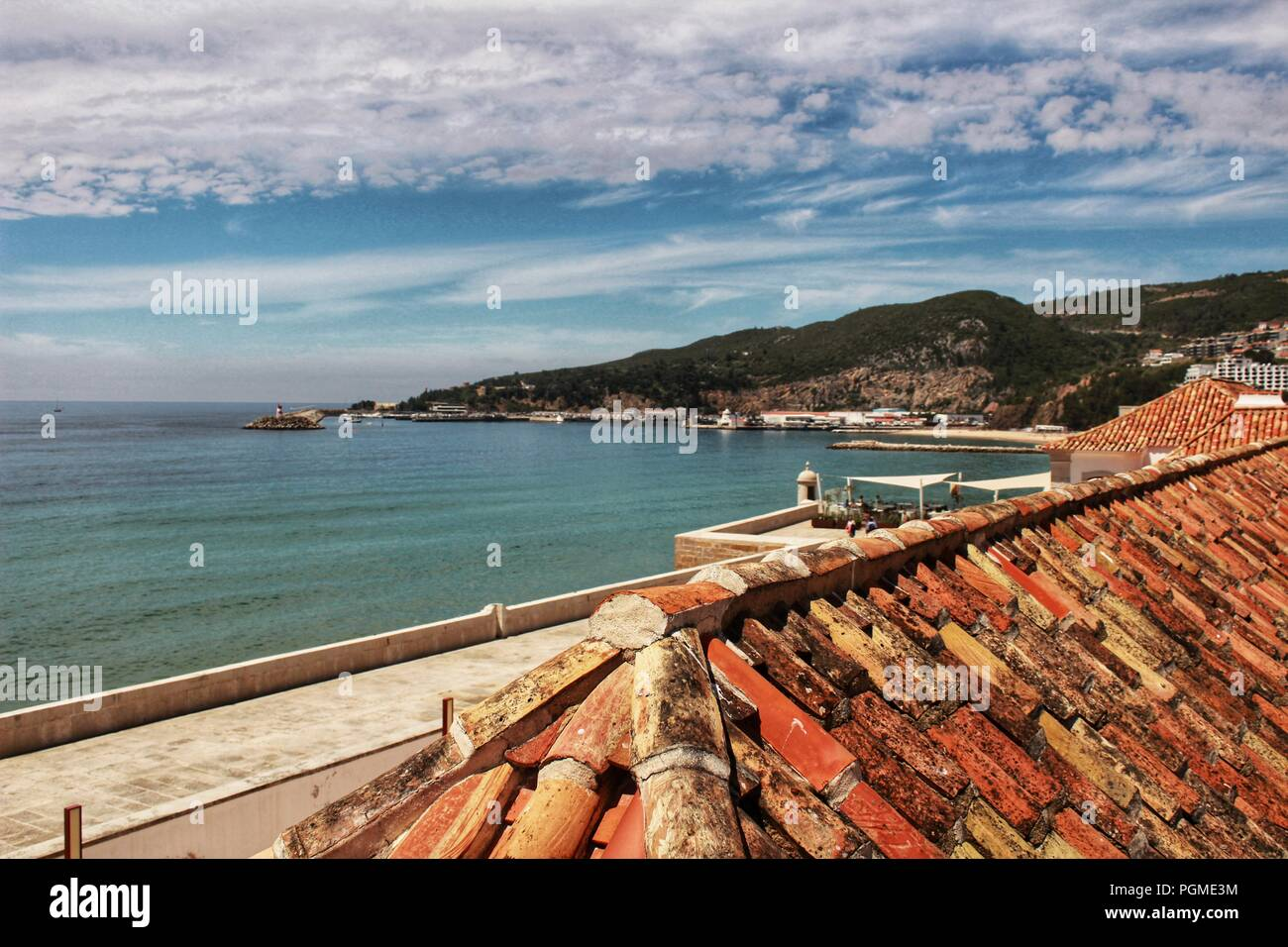 Sesimbra village views from the roof under blue sky in spring - Stock Image