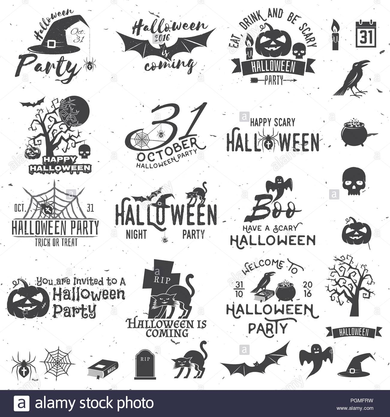 Set of Halloween party concept and design elements. Halloween party ...