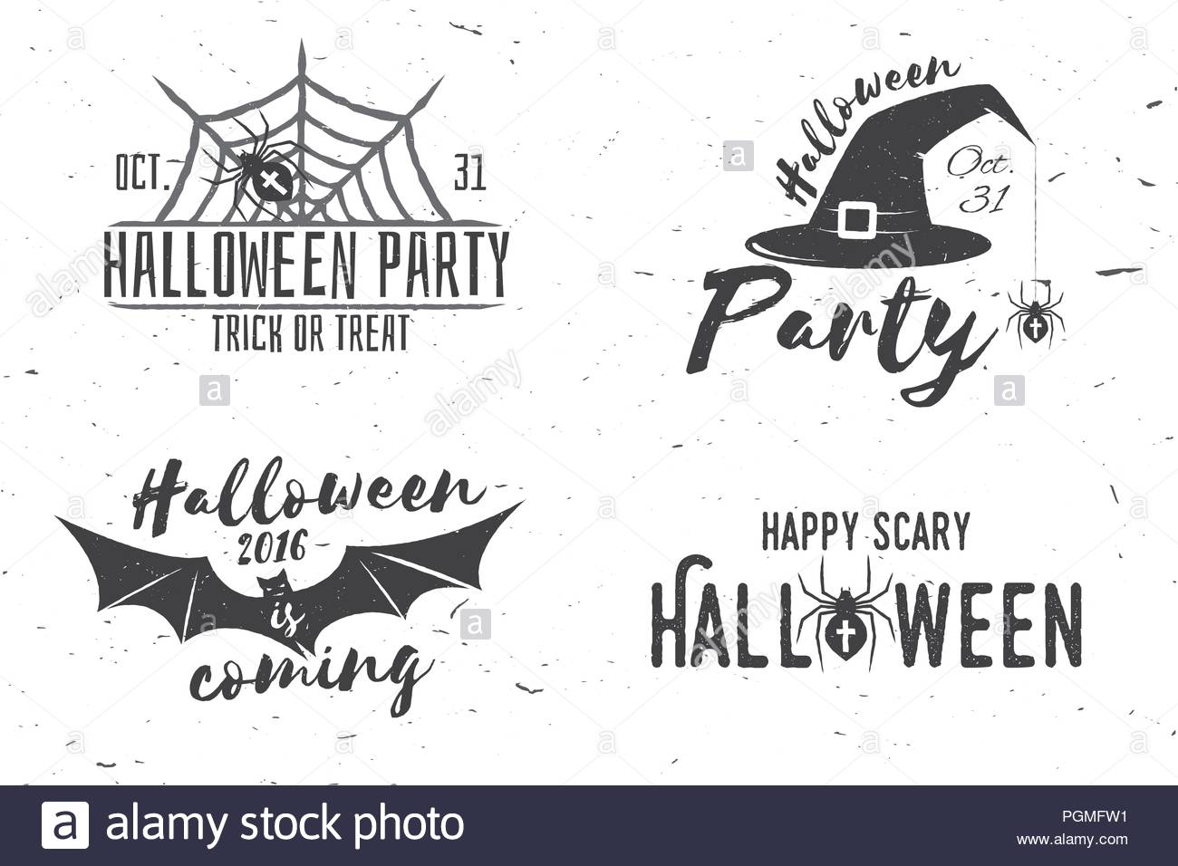 happy scary halloween party concept. vector halloween retro badge