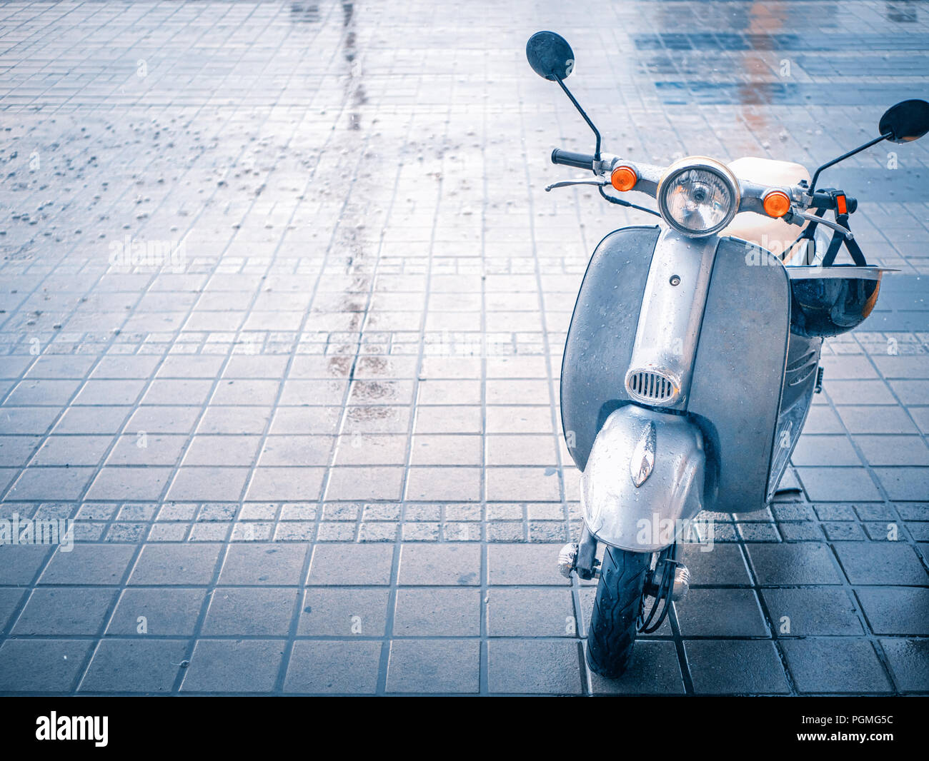 Cute Small Vespa Motobike Scooter At Paving Stone Parking Rainy Day Car Bike Sharing Service Concept Vintage Retro Style Shot With Copy Space Stock Photo Alamy