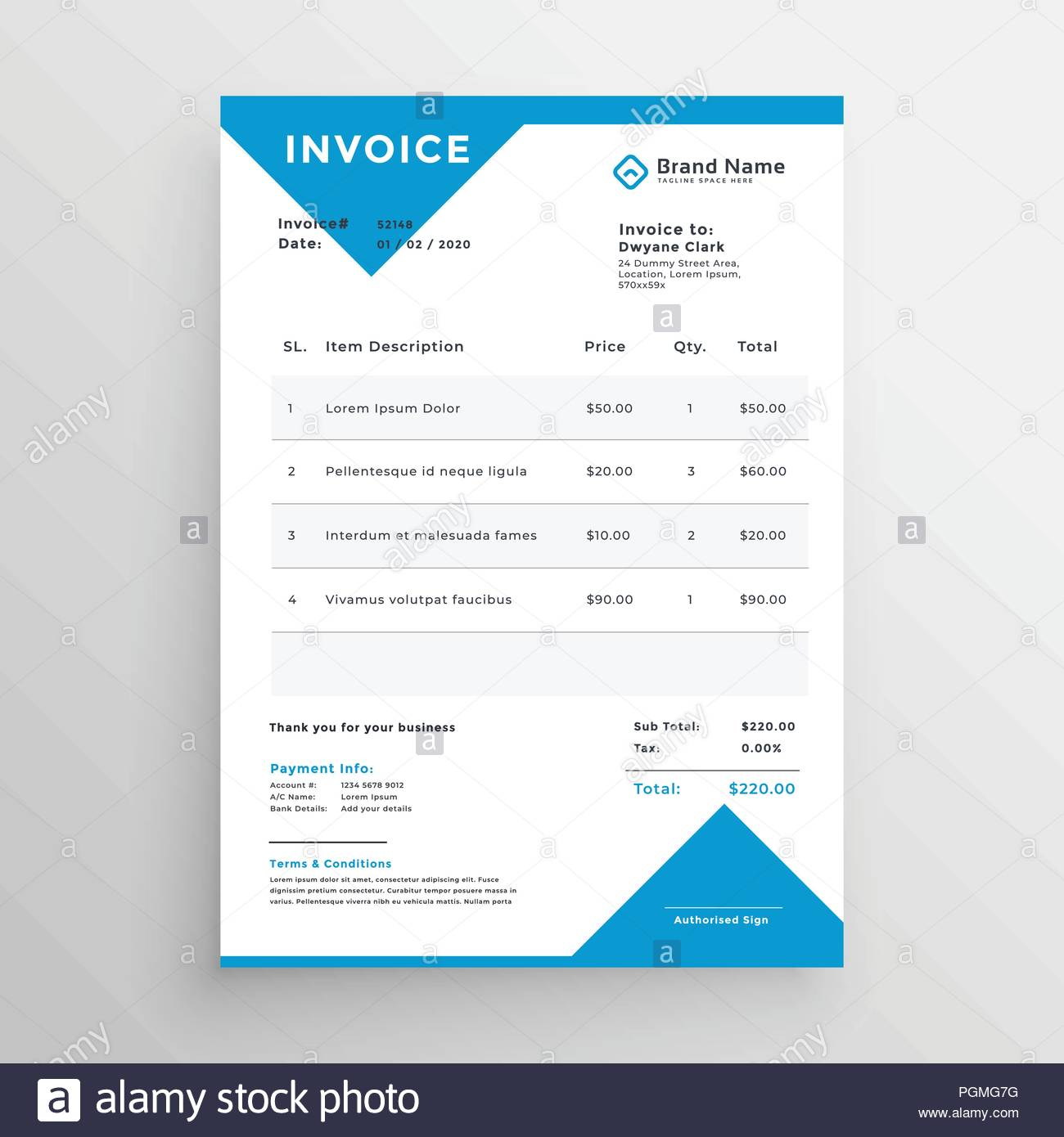 Minimal Blue Invoice Template Design Stock Vector Art Illustration