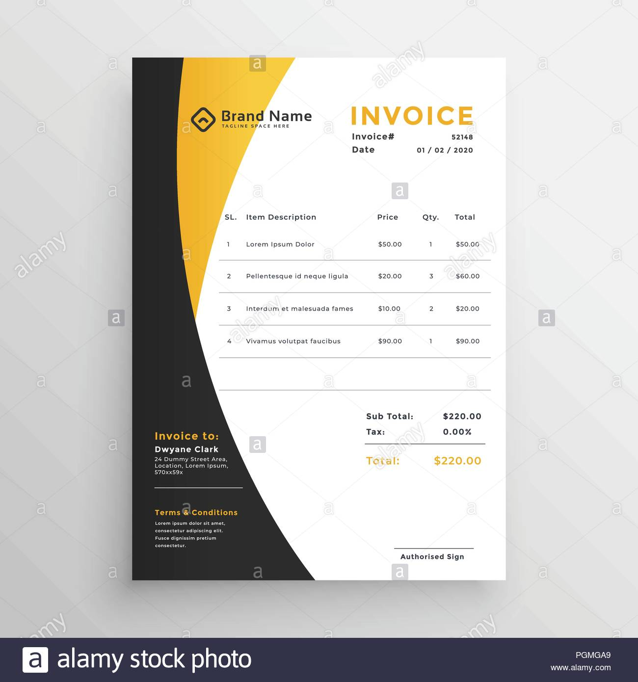 creative yellow modern invoice template stock vector art