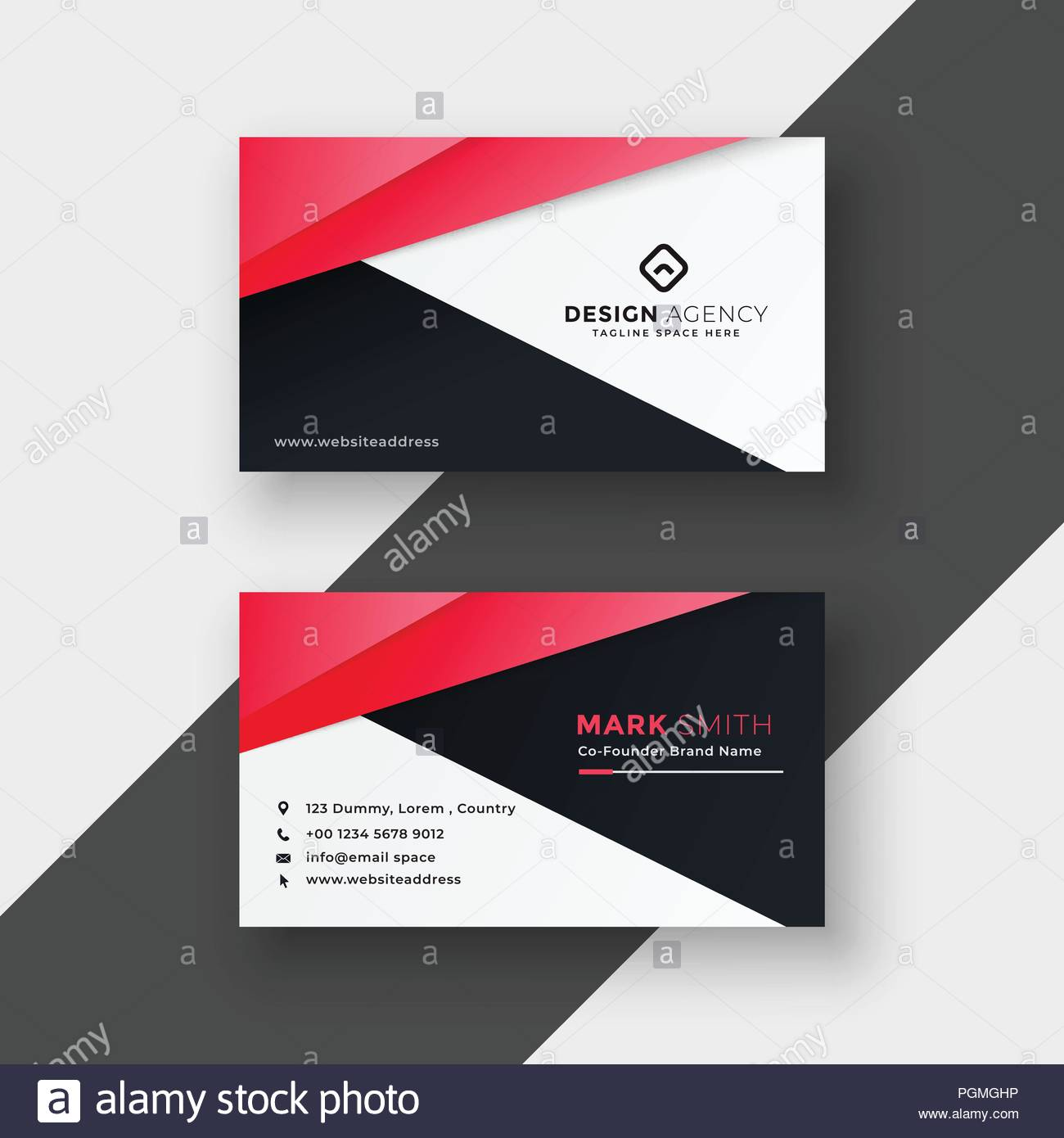 Professional Red Geometric Business Card Design Stock Vector