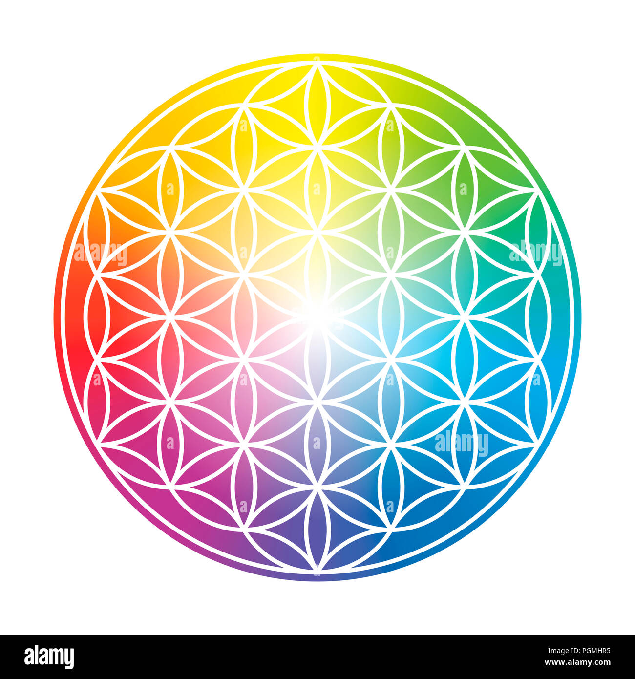 Flower of Life. Colorful circular rainbow gradient symbol on white background. - Stock Image
