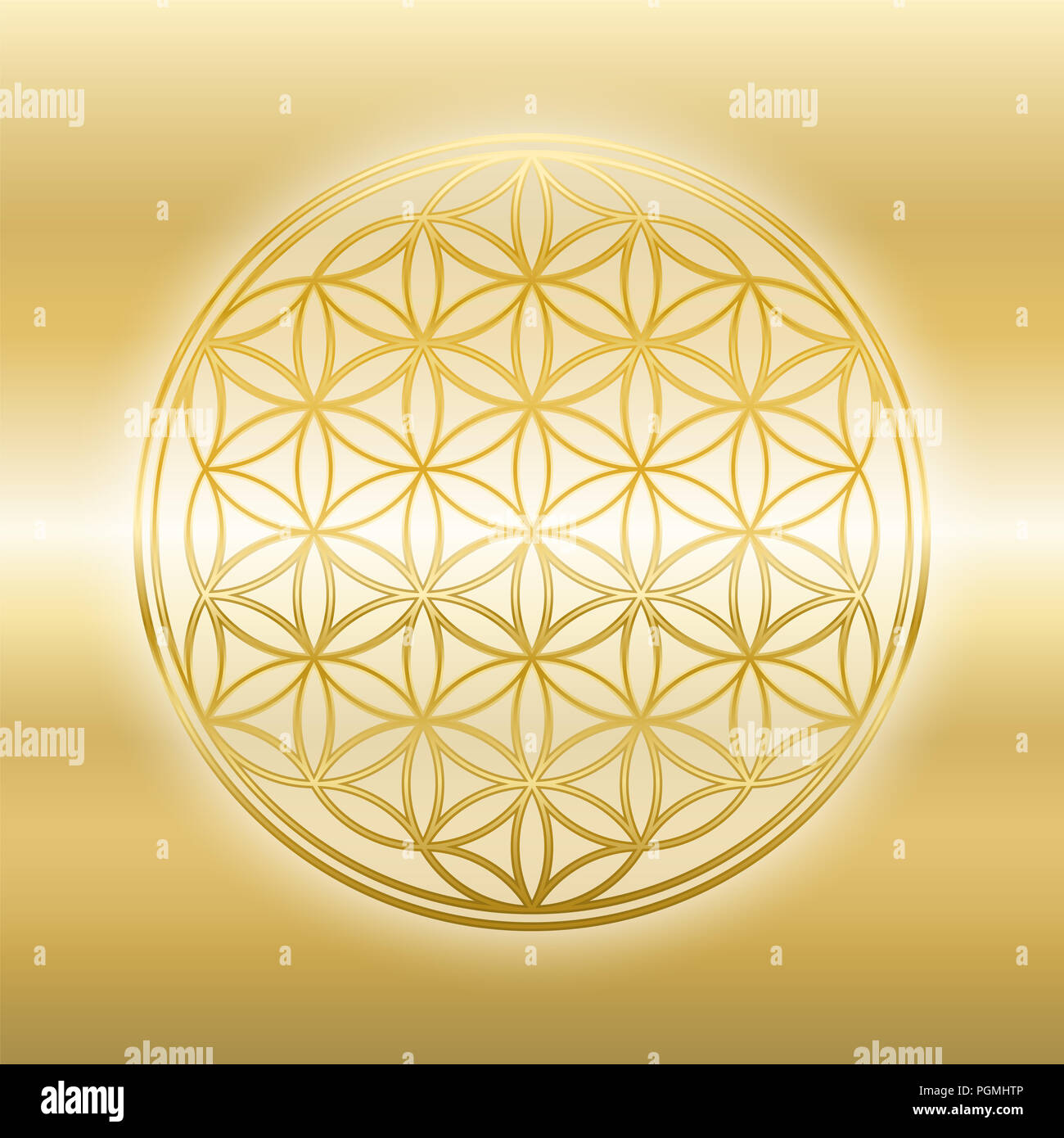 Golden Flower of Life, gleaming, glossy, gold symbol on golden background. - Stock Image