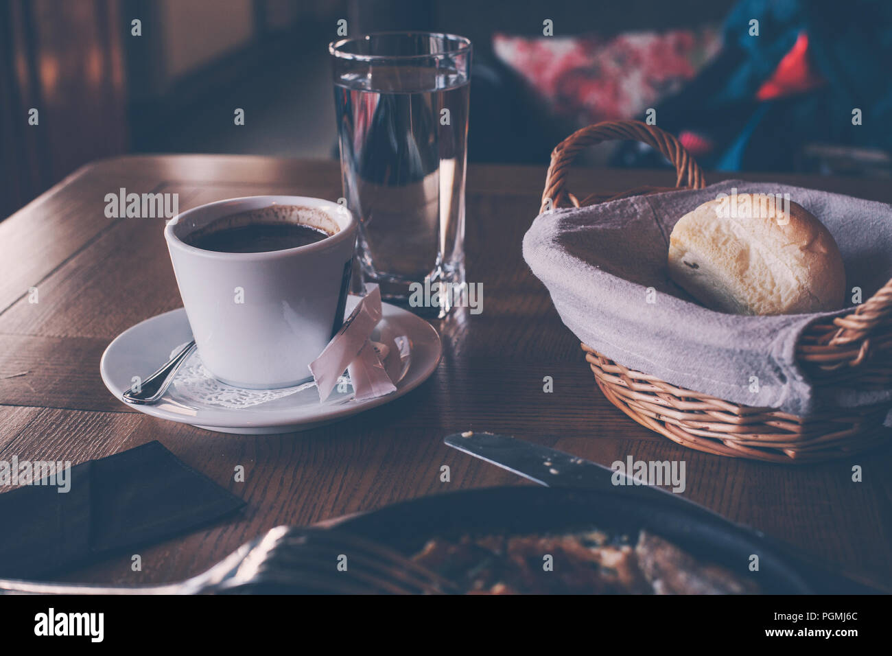 A Cup Of Coffee And Breakfast In A Cozy Retro Style Cafe