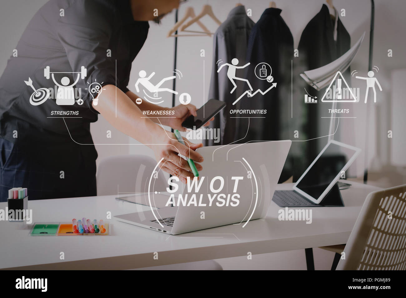 Swot Analysis Virtual Diagram With Strengths Weaknesses Threats And Opportunities Of Company Fashion Designer Working With Mobile Phone And Using La Stock Photo Alamy