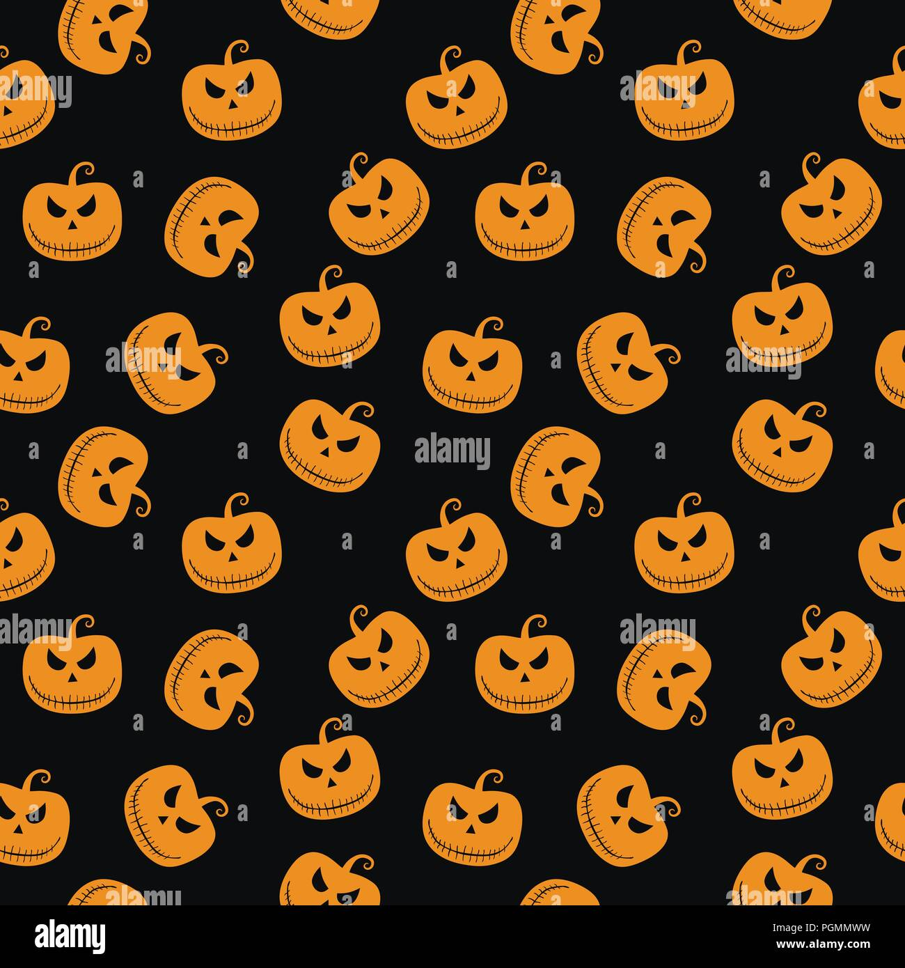 Halloween Seamless Pattern With Scary Stare Pumpkin On Black
