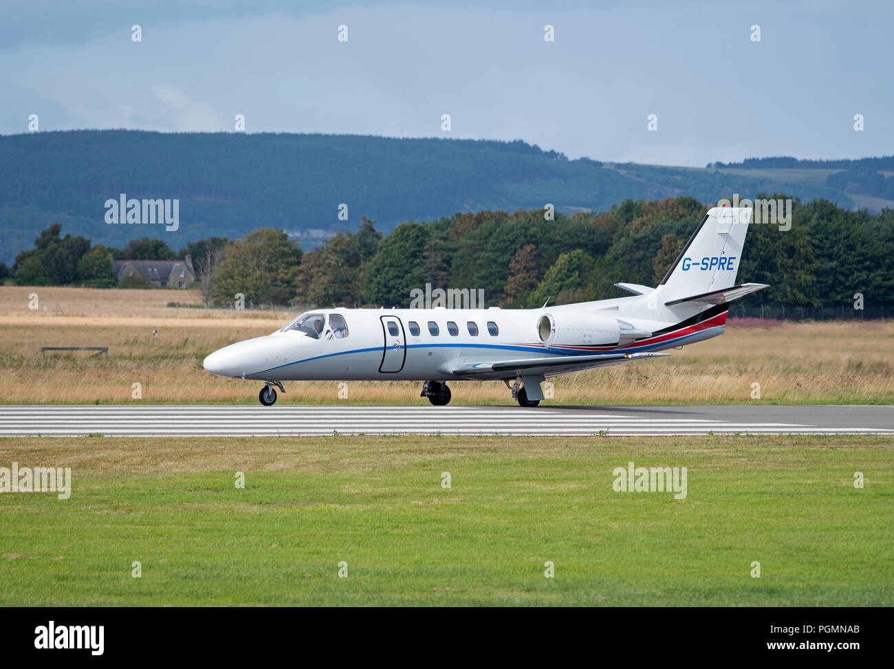 A Cessna Citation 550/551 arriving at Inverness Airport. - Stock Image