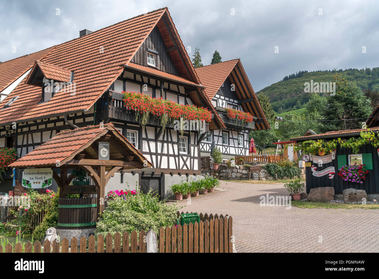 fachwerk in sasbachwalden schwarzwald baden w rttemberg deutschland half timbered houses. Black Bedroom Furniture Sets. Home Design Ideas