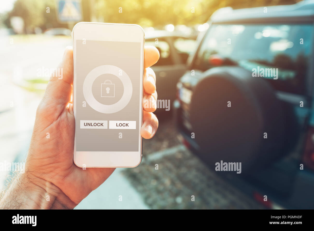 Unlock Car With Phone >> Car Smartphone App For Vehicle Lock And Unlock Man Holding