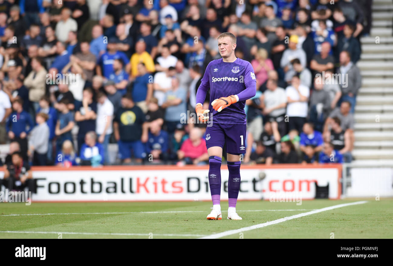 Jordan Pickford of Everton during the Premier League match between AFC Bournemouth and Everton at the Vitality Stadium , Bournemouth , 25 Aug 2018 Editorial use only. No merchandising. For Football images FA and Premier League restrictions apply inc. no internet/mobile usage without FAPL license - for details contact Football Dataco Stock Photo