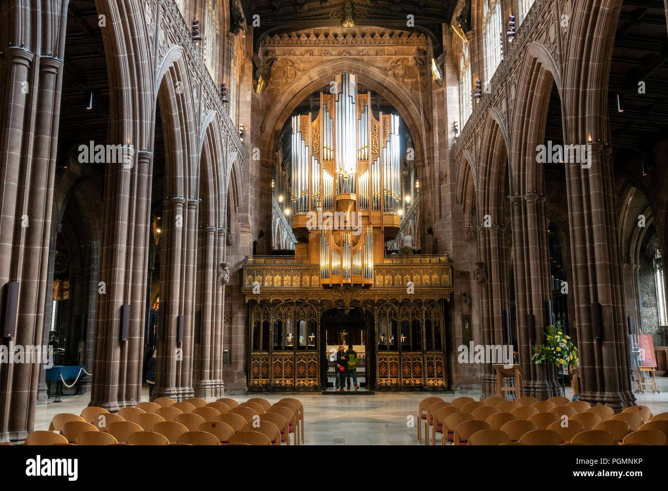 Nave of Manchester Cathedral, in Manchester, England. - Stock Image