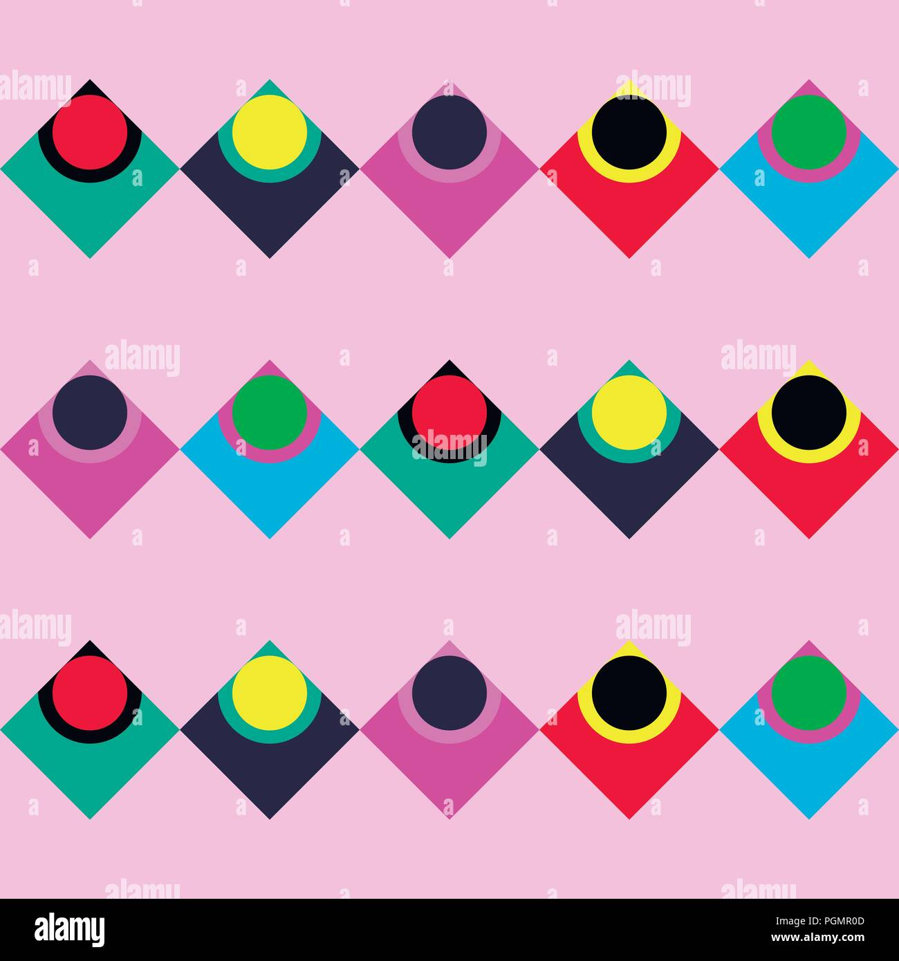 Simple retro vector background with colorful elements. Stock Vector