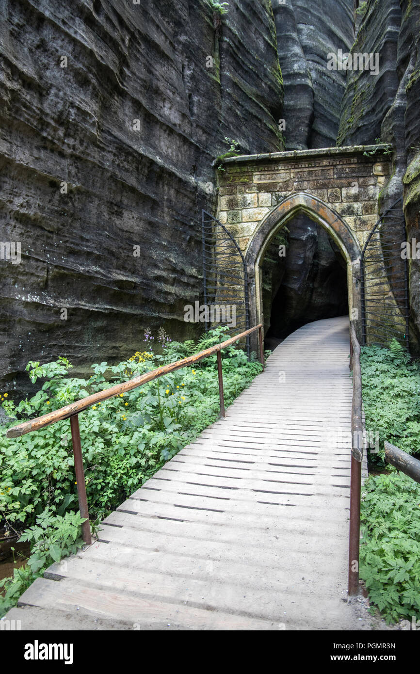 gothic gate in Adrspach National Park, Czech Republic, Europe - Stock Image