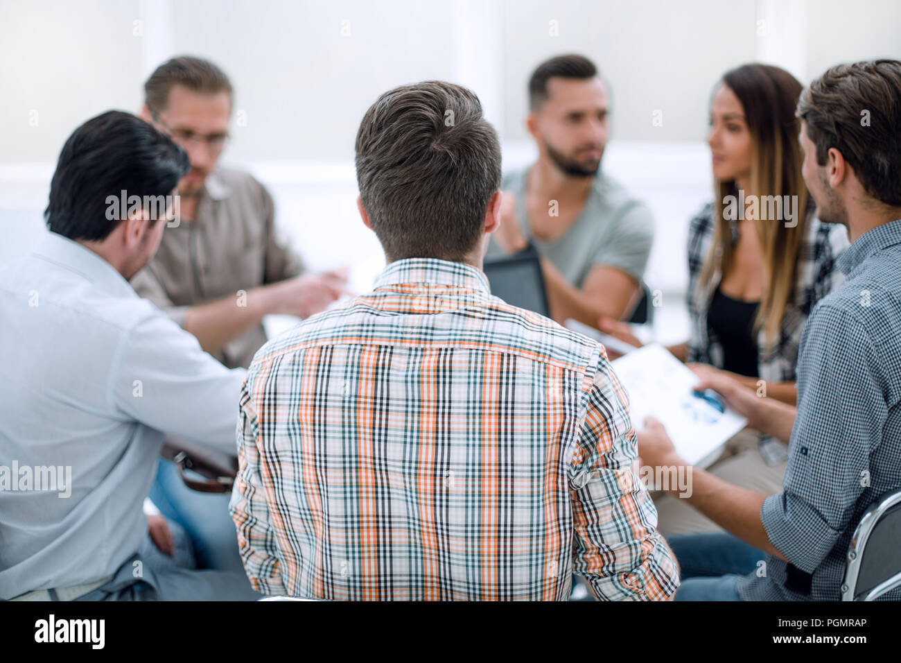 close up.business team discussing financial data Stock Photo