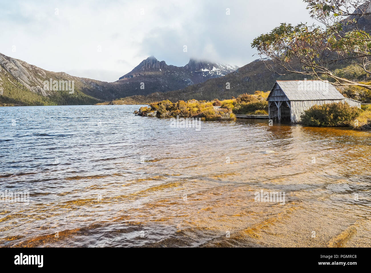 A boat shed in Dove Lake Circuit of Cradle Mountain National Park. (Tasmania, Australia) - Stock Image
