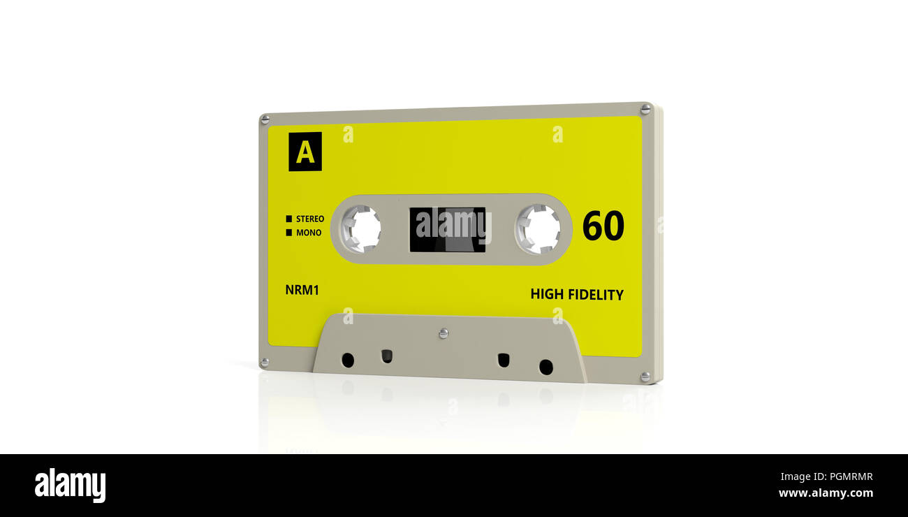 1970s-1980s party music. Vintage audio cassette tape with bright yellow label isolated on white background. 3d illustration - Stock Image