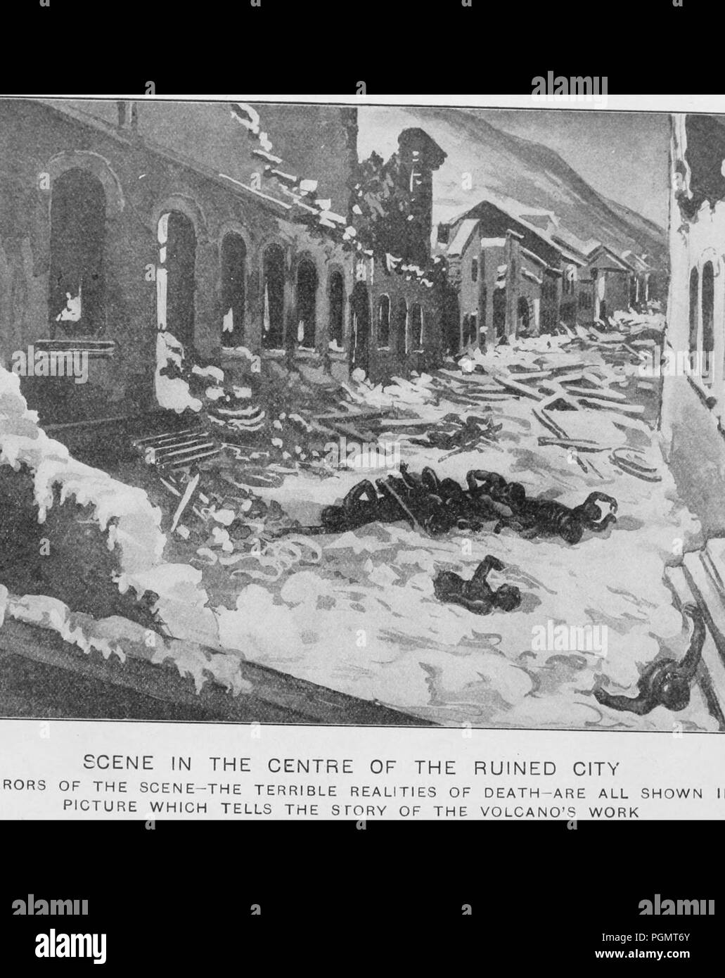 Black and white illustration depicting human corpses and building debris, mired in ash and lava in the center of a city street in Pompeii, Italy, with damaged buildings on either side, following the eruption of Mount Vesuvius in 79 CE, 1906. Courtesy Internet Archive. () - Stock Image