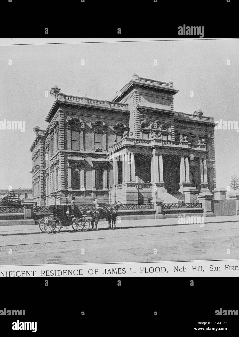 Black and white photograph, shot from a low angle, showing James C Flood's Italian Renaissance Revival style, mansion, with a horse-drawn carriage in the foreground, the only Nob Hill mansion to structurally survive the 1906 earthquake and fire in San Francisco, California, 1906. Courtesy Internet Archive. () - Stock Image