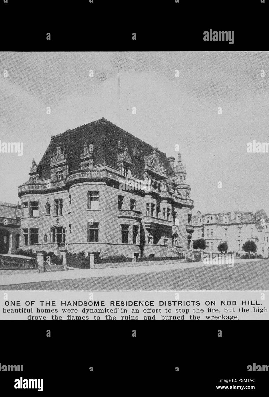 Black and white photograph of a French neoclassical style mansion that was dynamited in an effort to stop the fire that raced through San Francisco's Nob Hill, and surrounding areas, during California's 1906 earthquake and great fire, 1906. Courtesy Internet Archive. () - Stock Image