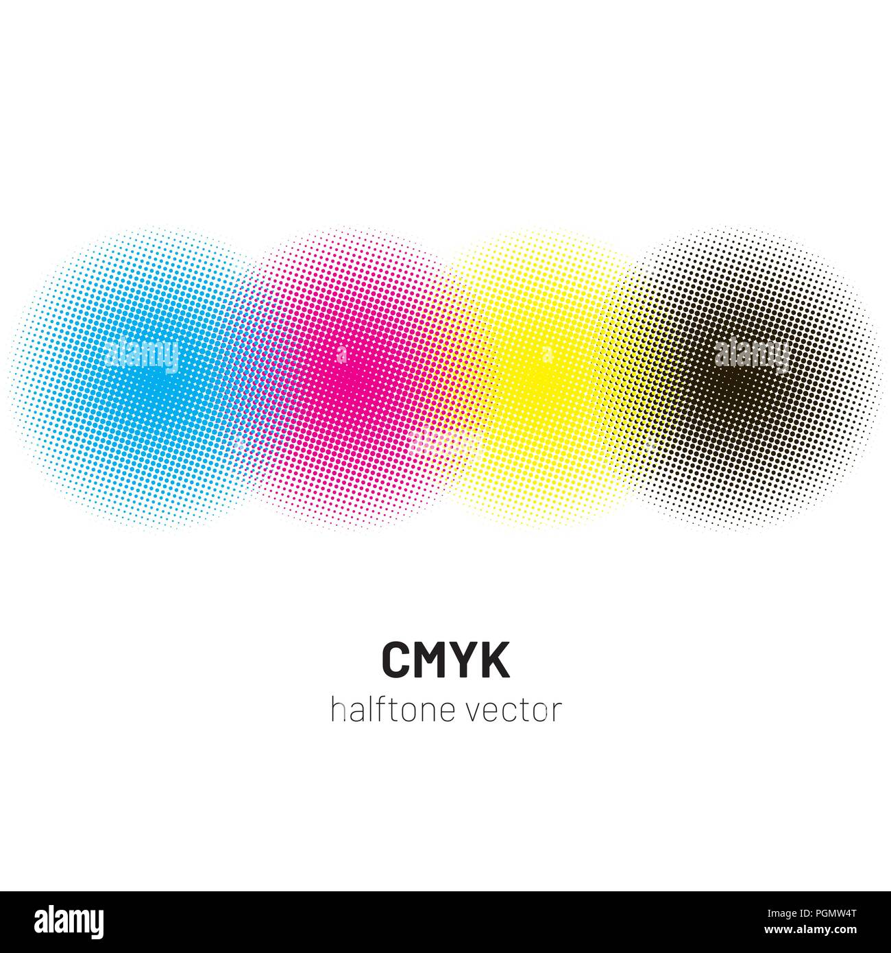CMYK halftone rounds background vector - Stock Image