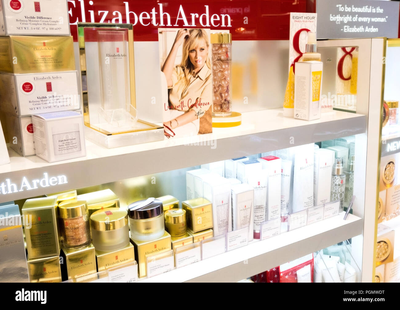 LONDON, UK - AUGUST 31, 2018: Elizabeth Arden perfume and cosmetic makeup luxury collection in boutique store. Elegant shop.