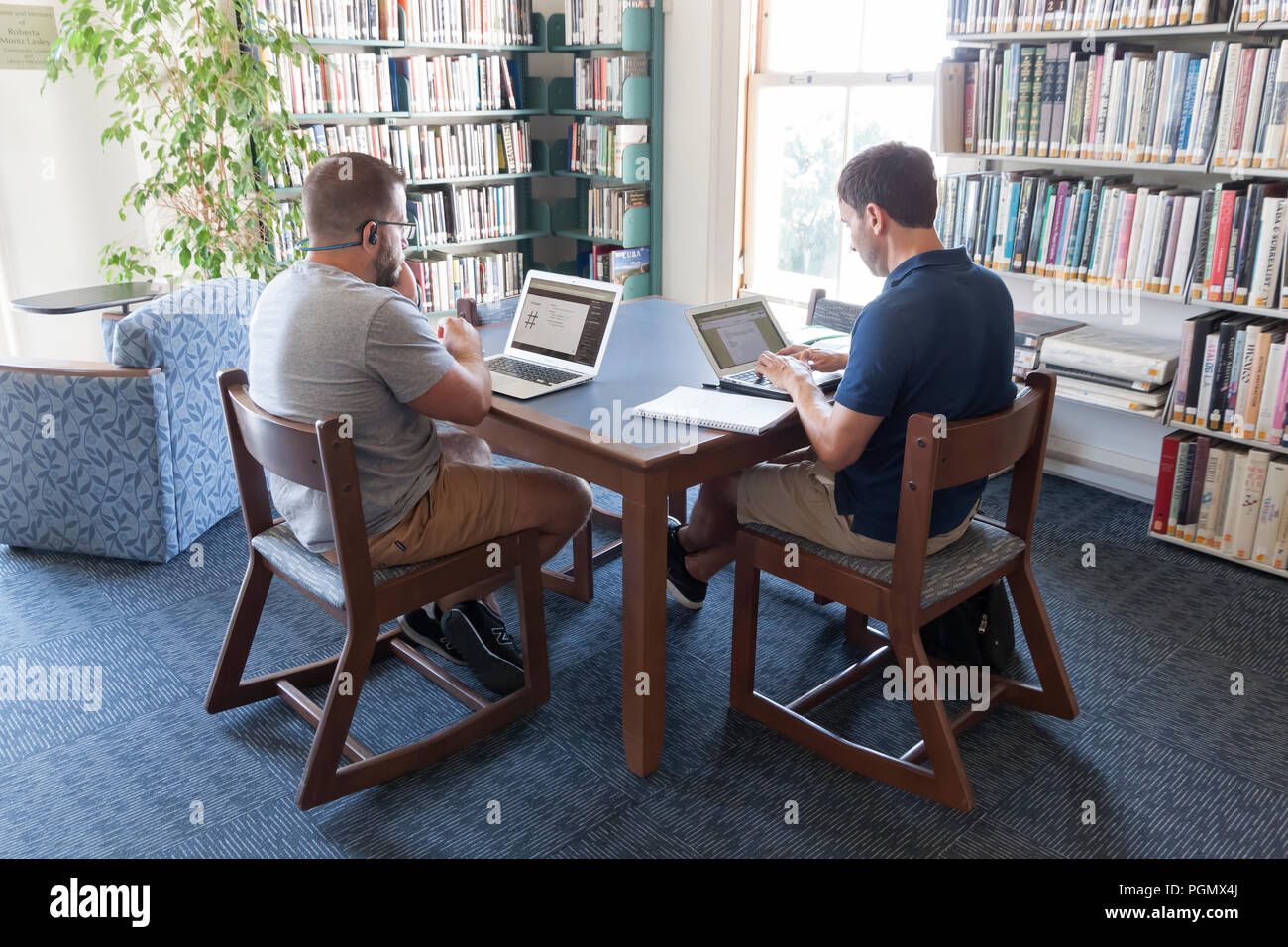 Adults using laptop computers in the Provincetown, Massachusetts public library. - Stock Image