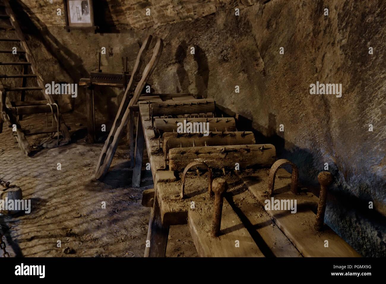 8bce664c1 Medieval torture instruments / wooden torture rack in the Château de  Bouillon Castle, Luxembourg Province