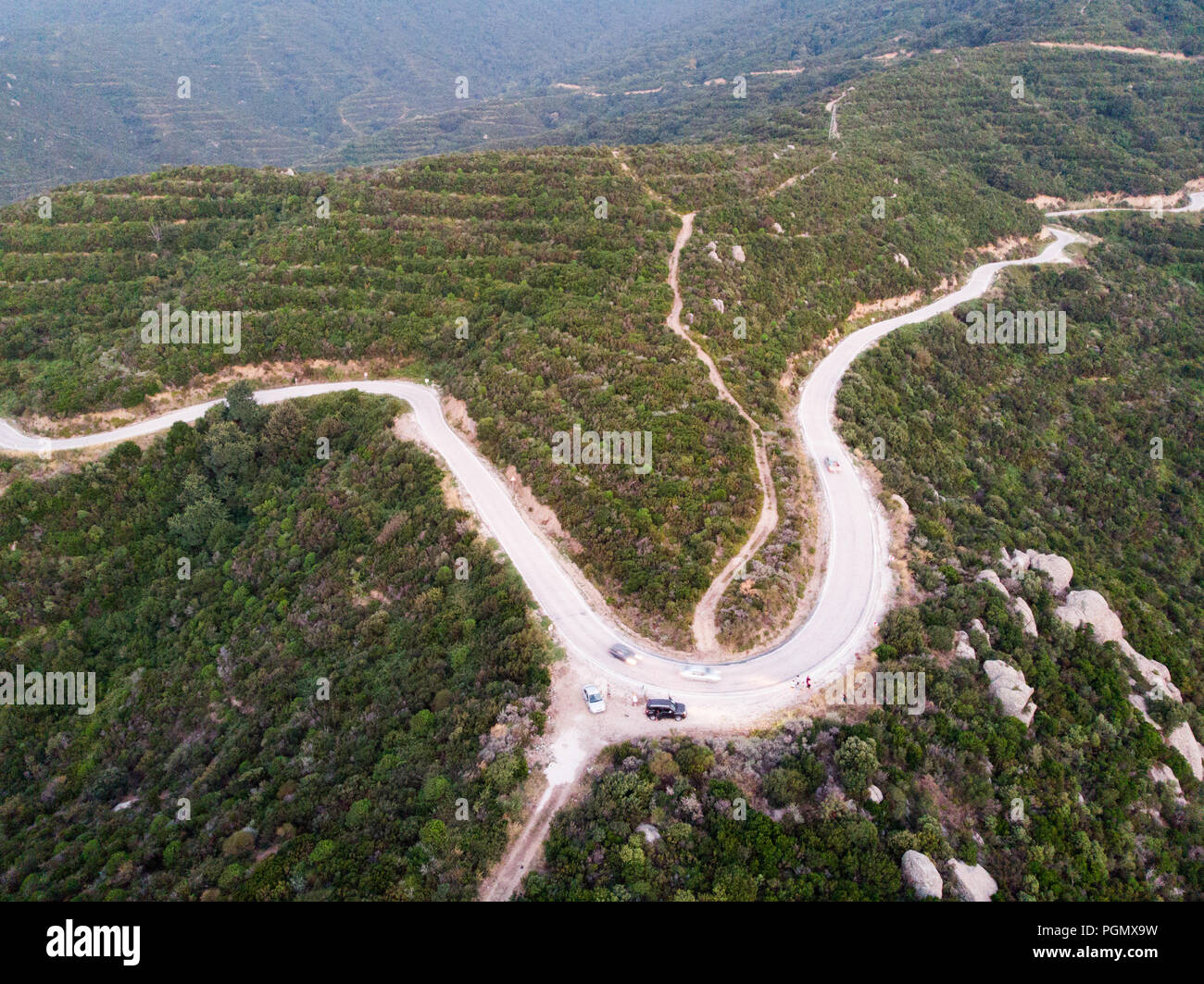 Aerial Drone View of Mountain Way in Forest at Erdek Turankoy / Balikesir Turkey Nature in the City. Stock Photo