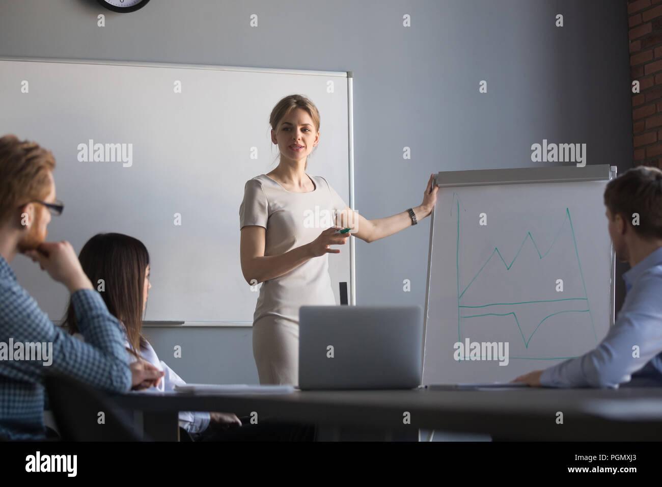 Confident female speaker presenting business plan on flipchart - Stock Image