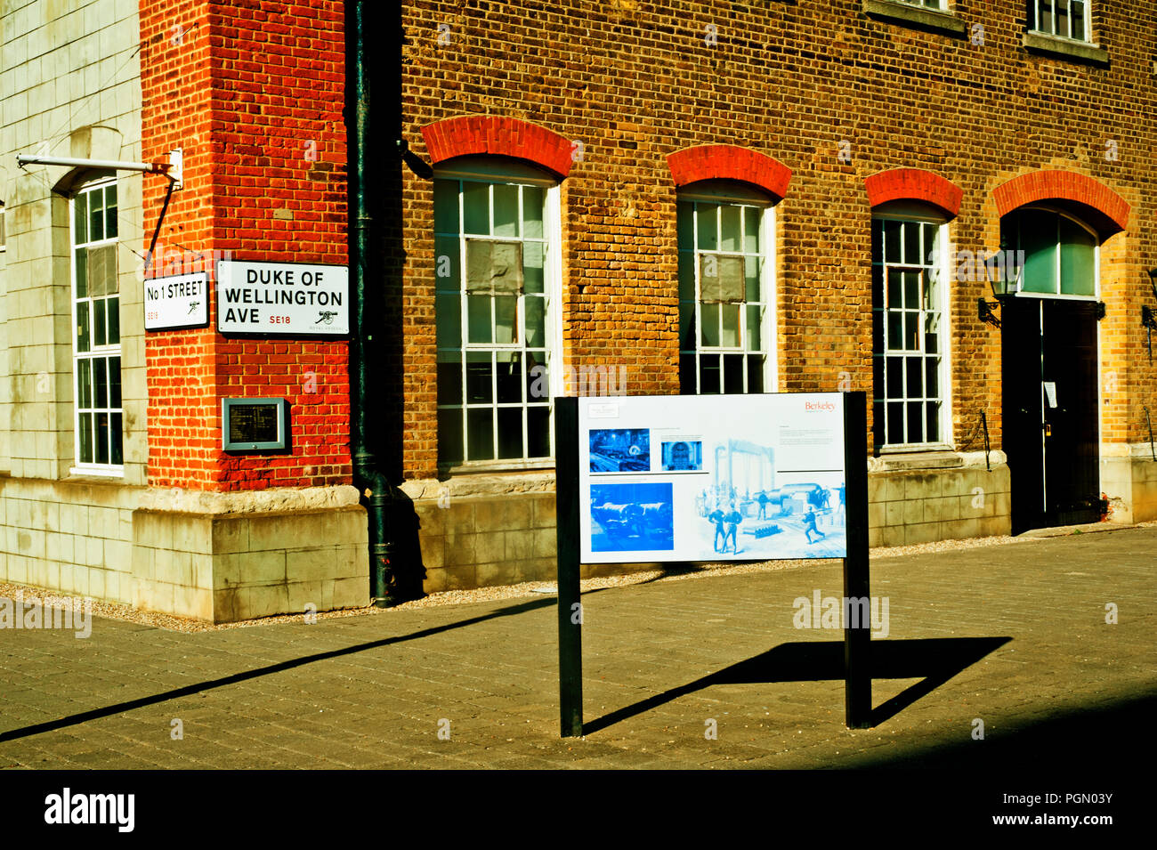 No 1 Street and Duke of Wellington Avenue, Royal Arsenal Riverside, Woolwich Arsenal, London, England - Stock Image