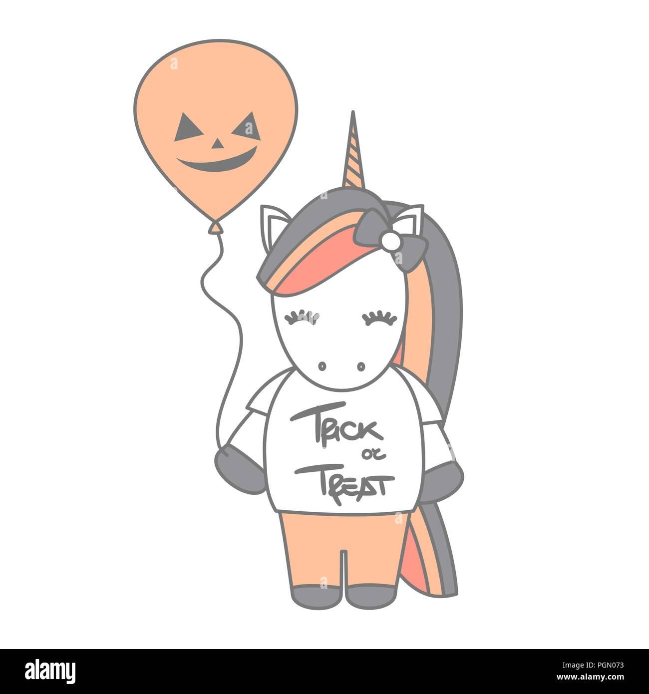 Cute Cartoon Halloween Vector Illustration With Unicorn And
